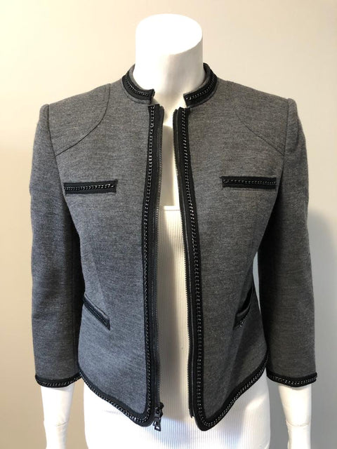 DVF Grey Rococo Collareless Jacket Size 4