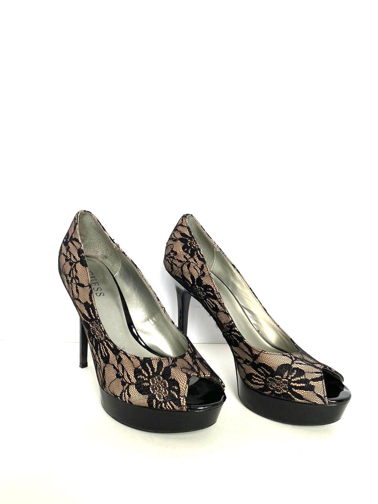 Guess Nude & Black Lace Open Toe Pump Size 10