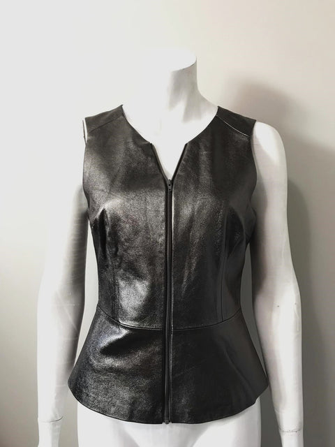 Trina Turk Silver Metallic Leather Peplum Blouse Size 6