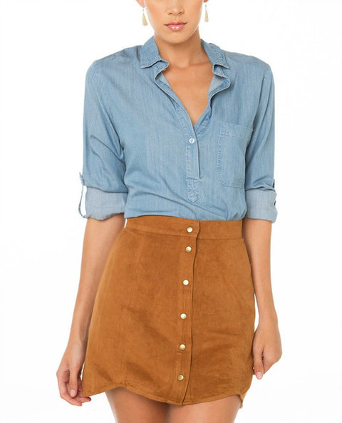 Vintage Button Up Camel Faux Suede Skirt Size M