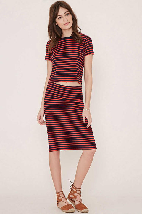 Olive & Oak Navy & Red Stripe Pencil Skirt 4