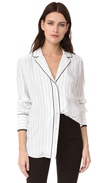 Frame Black & White Pinstripe Silk Button Up PJ Blouse Size L