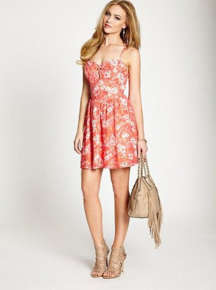 Guess Floral Print Multi Color Lace Dress - Joyce's Closet  - 1