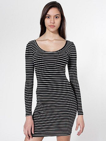 American Apparel Black & White Stripe Long Sleeve Mini Dress Size L