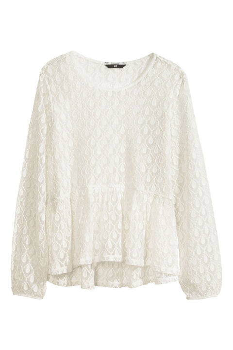 H&M Cream Tear Drop Lace Peplum Blouse Size M