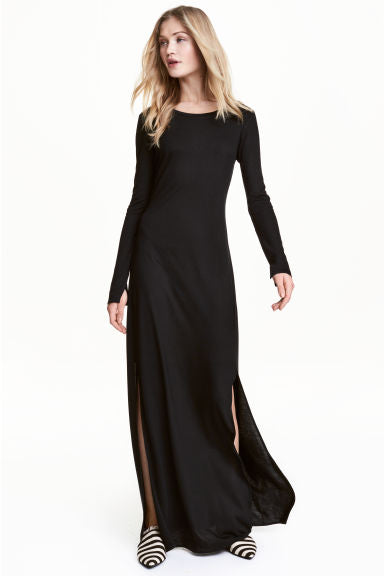 H&M Black Long Sleeve Maxi Dress Size S