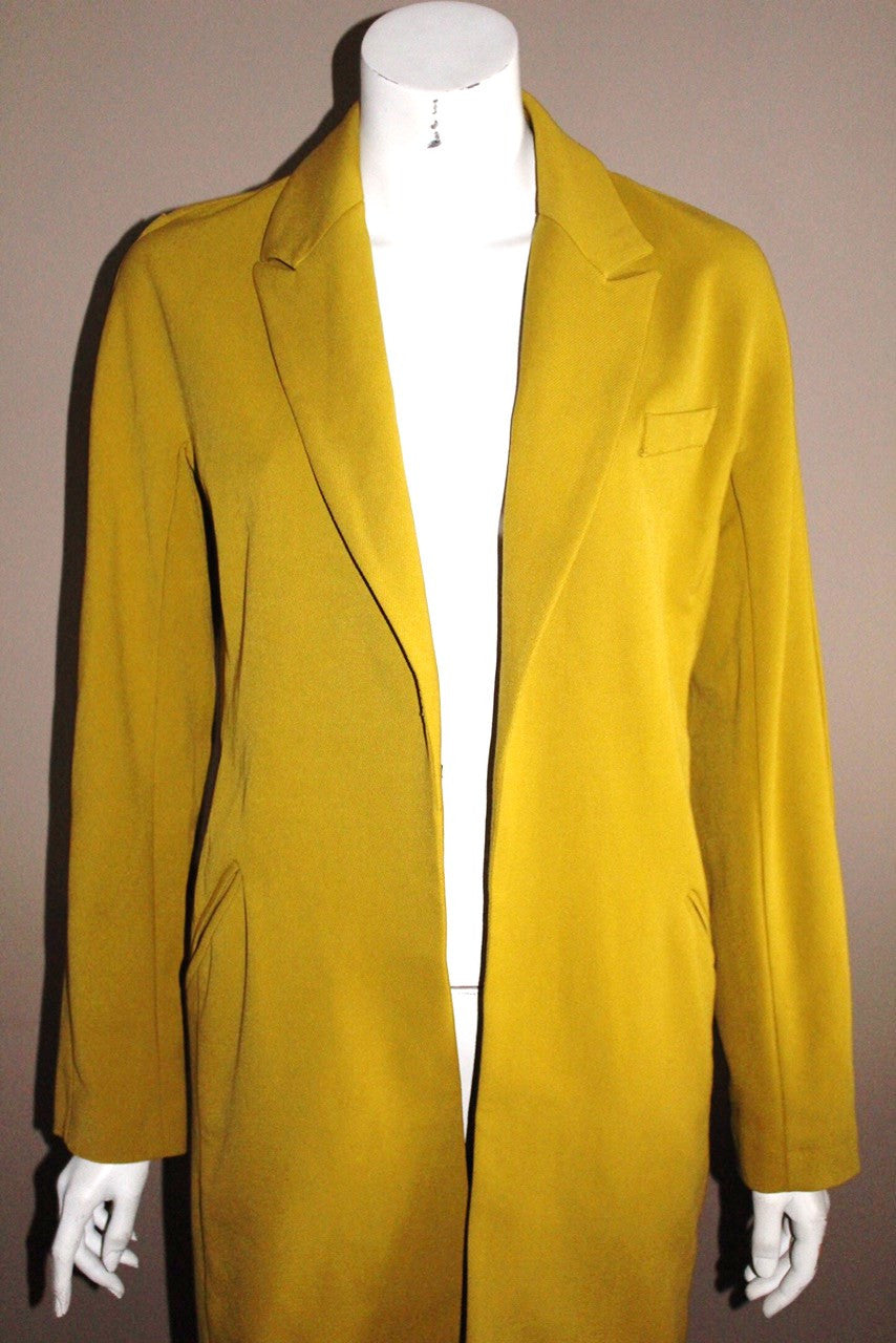 Asos Mustard Yellow Long Line Jacket - Joyce's Closet  - 1