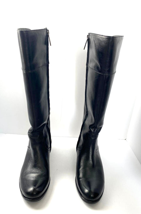 Bussola Black Leather Tall Boots Size 38