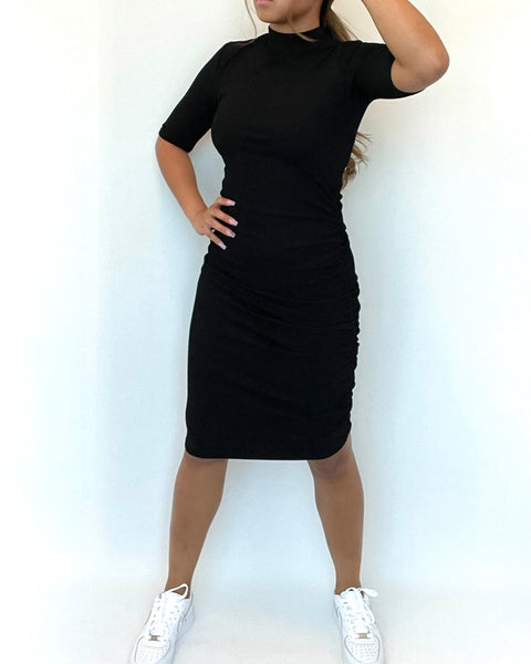 Zara Black Ribbed Dress Size S