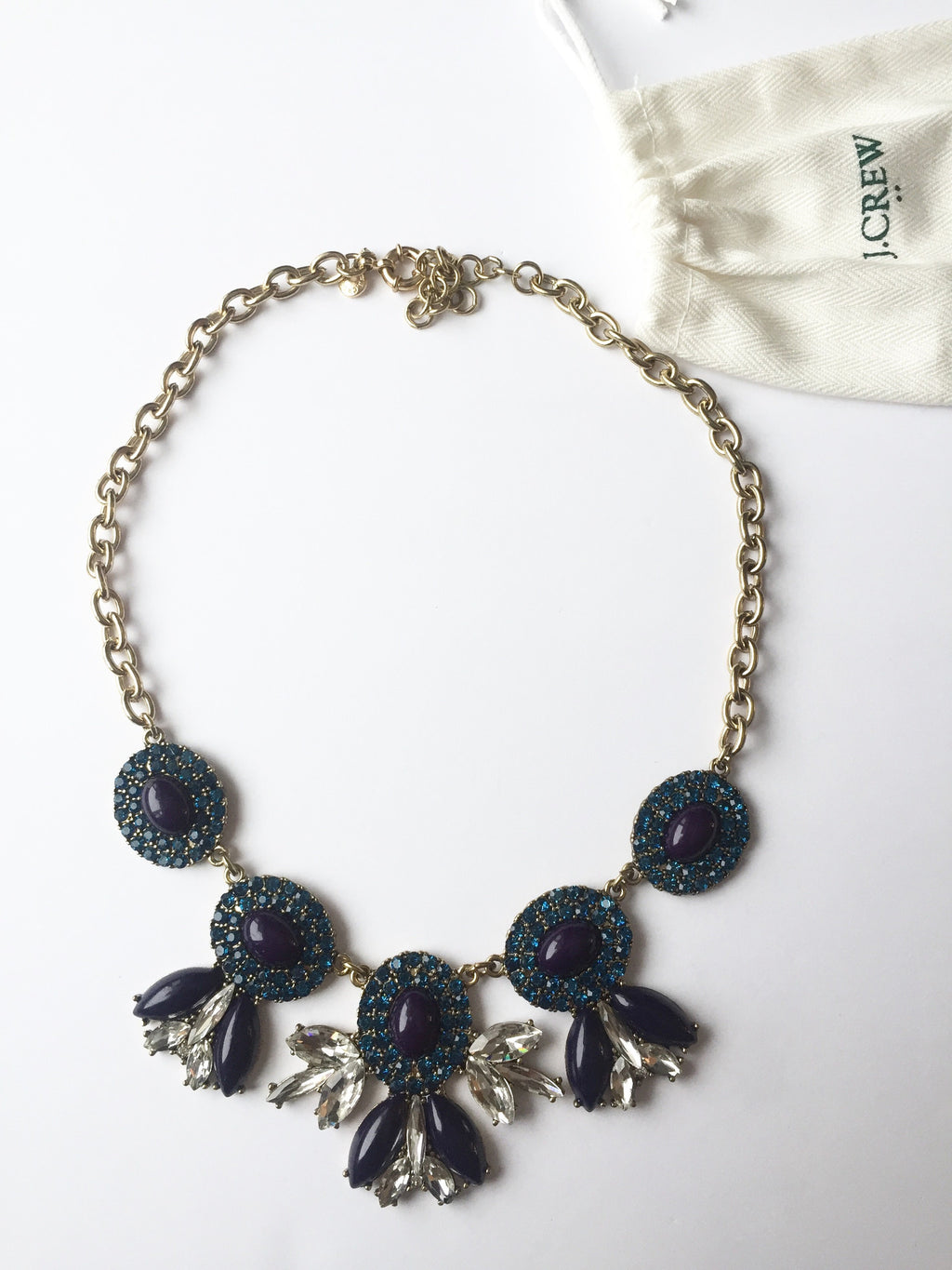 J.Crew Blue & Purple Cluster Statement Necklace