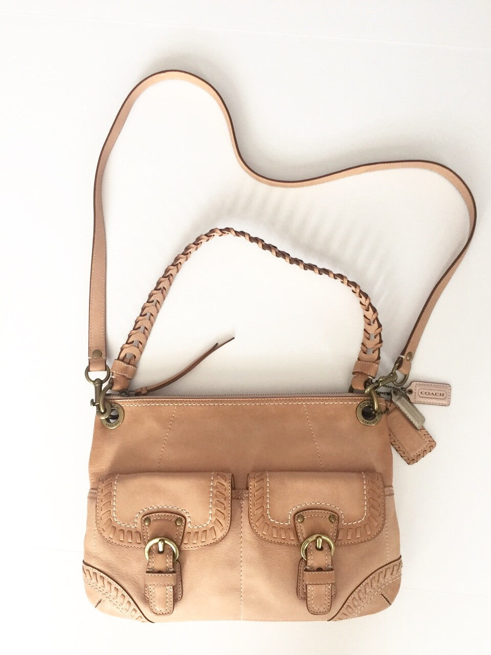 Coach Biege Whipped Stitch Leather  Cross-Body Bag