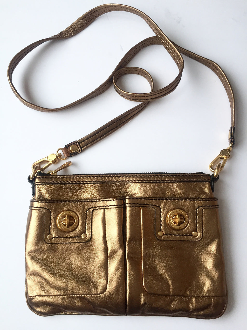 Marc by Marc Jacob Metallic Gold Cross-Body Bag