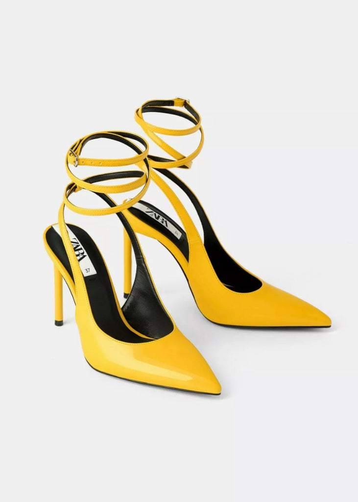 Brand New Zara Yellow Sling-Back Pointed Toe Heels Size 38