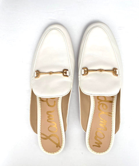 Sam Edelman White Leather Mule Slides Size 8.5
