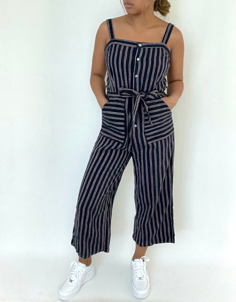 Dex Navy Stripe Jumpsuit Size S