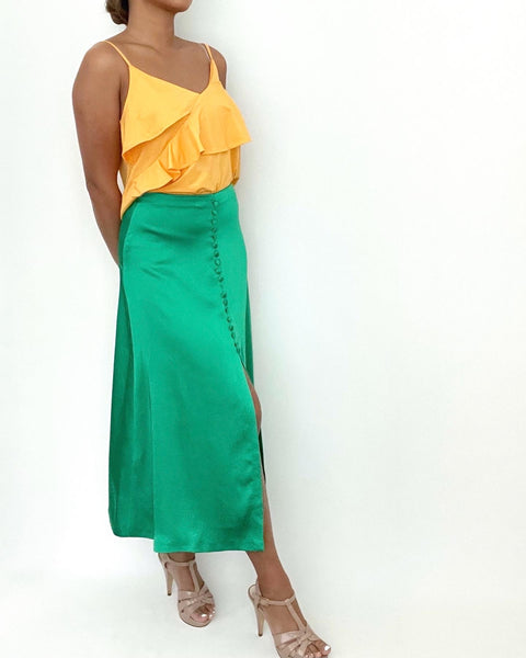 Zara Green Satin Skirt Size M