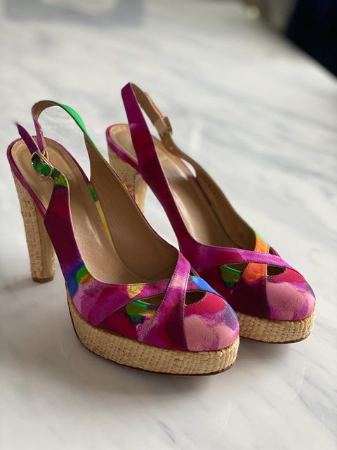 Stuart Weitzman Multi Color Sling Back Pump Size 7.5
