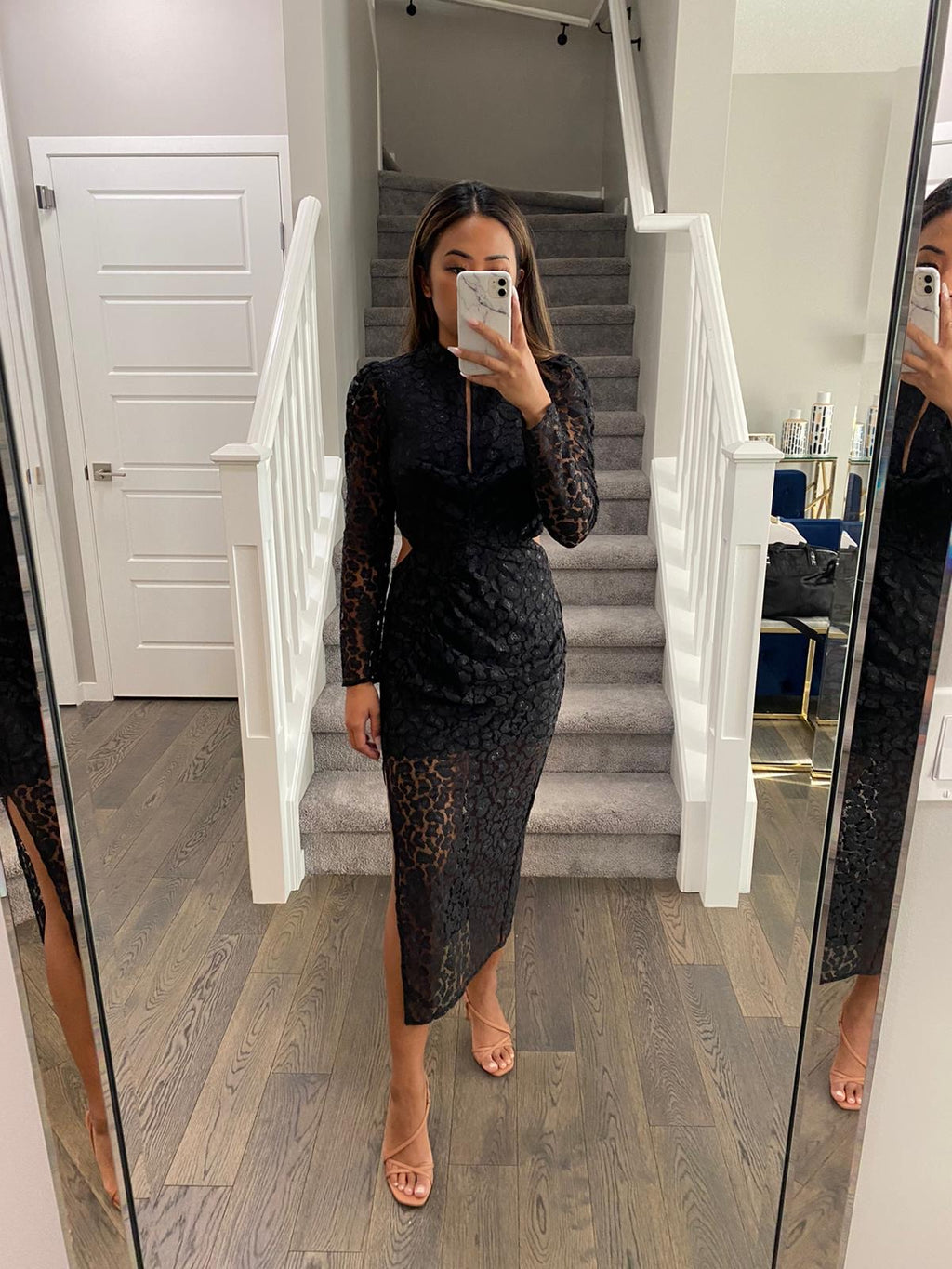 Topshop Black Lace Midi Dress Size 6
