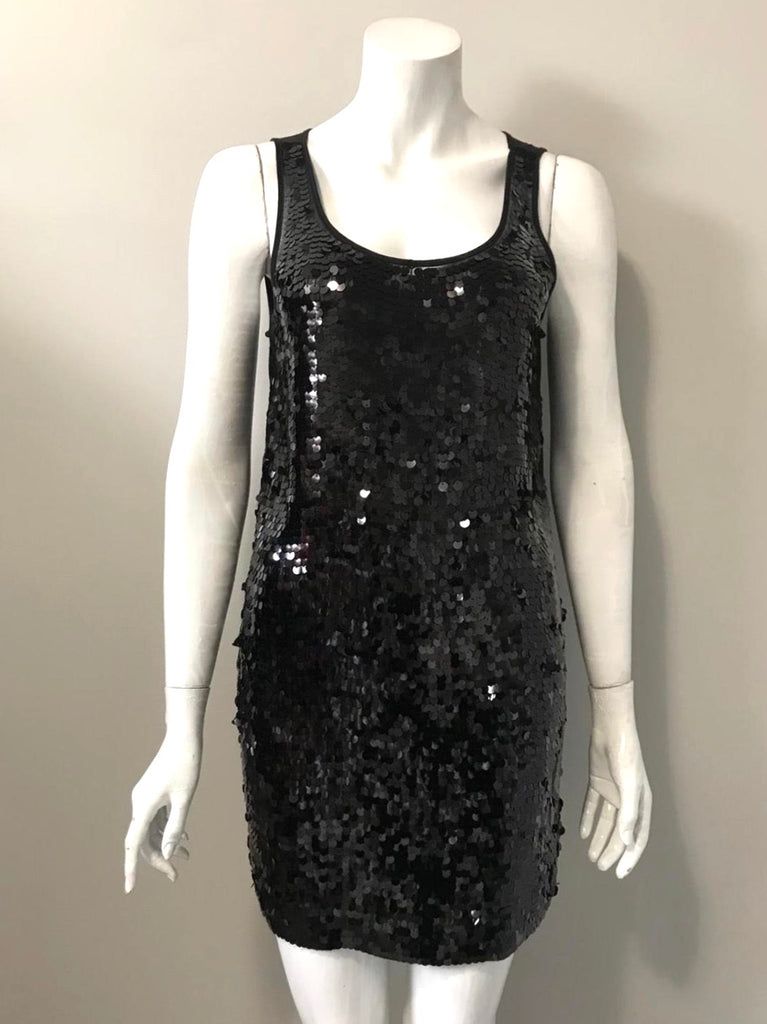 DKNY Black Sequin Tank Dress S