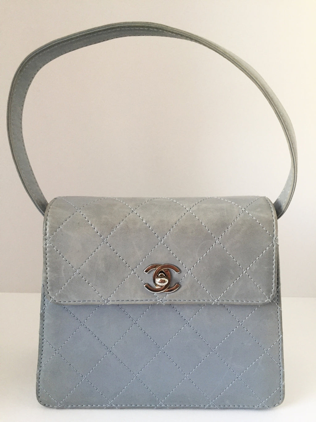 Chanel Lambskin Kelly Light Blue Small Structured Single Flap Handbag