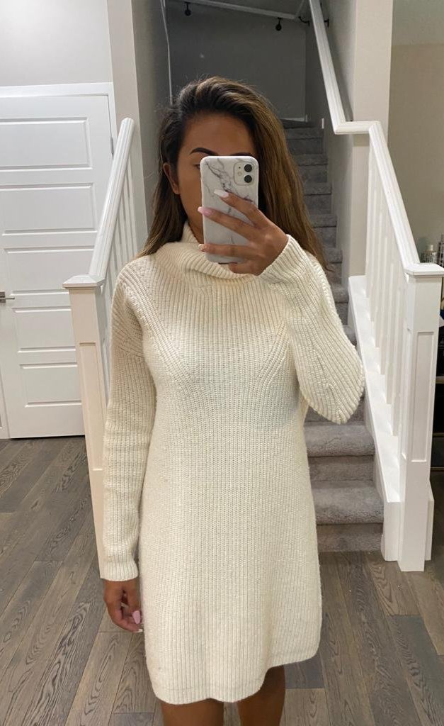 French Connection Cream Knit Dress Size S