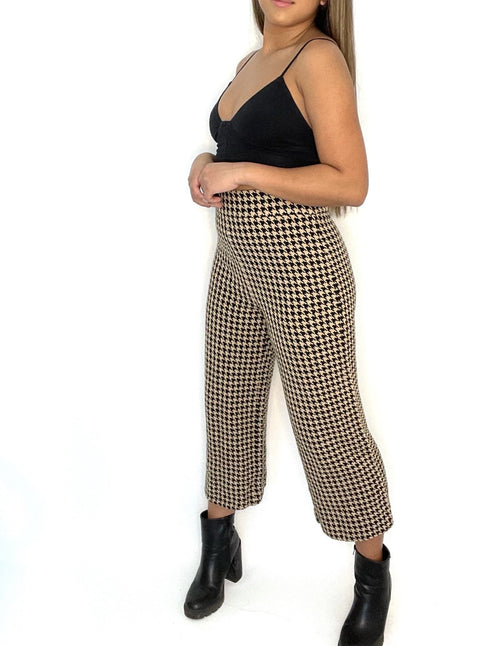 Zara Biege Houndstooth Culotte Pants Size M