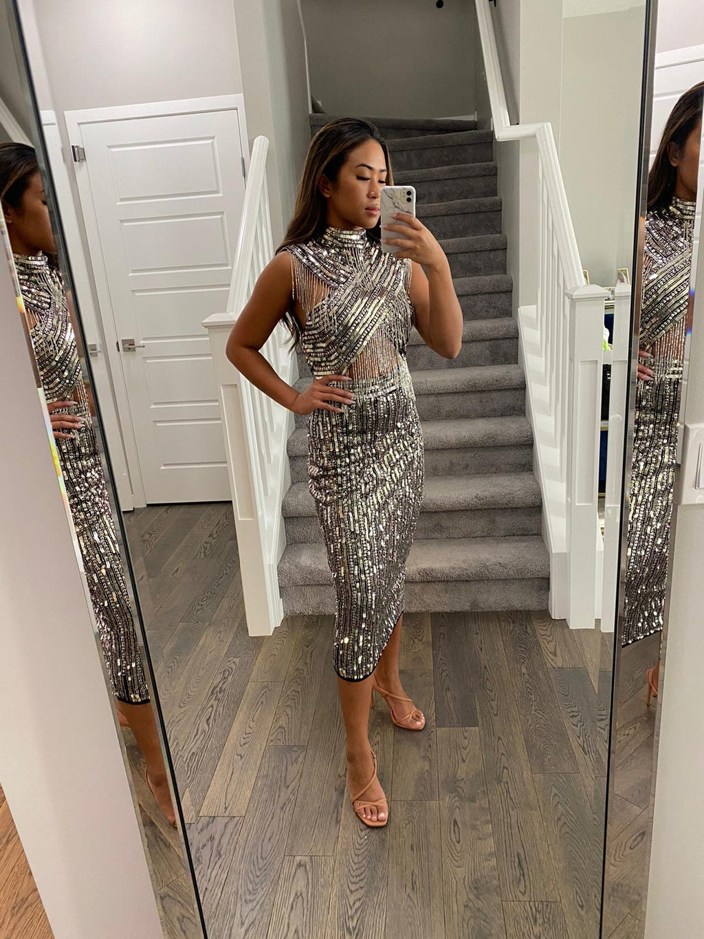 ASOS Silver Beaded Dress Size 6
