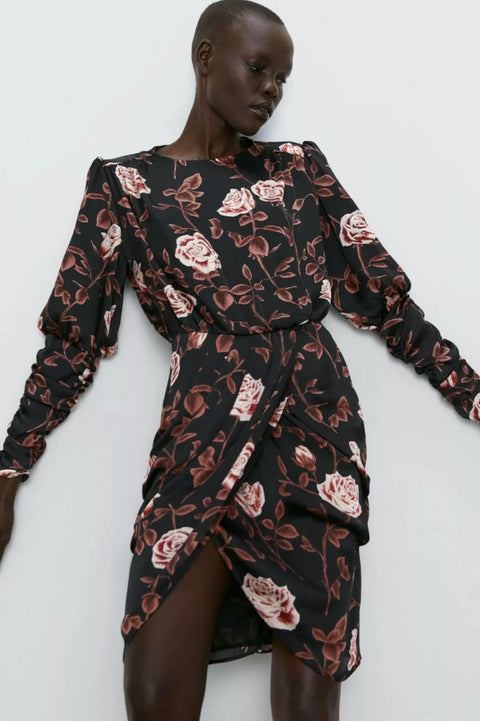 Brand New Zara Black Floral Print Dress Size XS