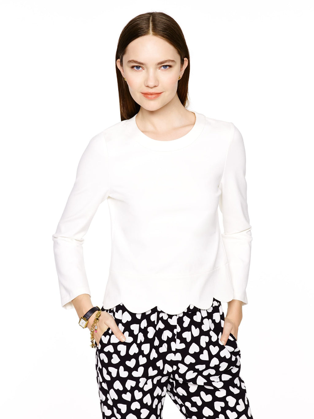 Kate Spade Cream Ponte Crop Blouse Size 6