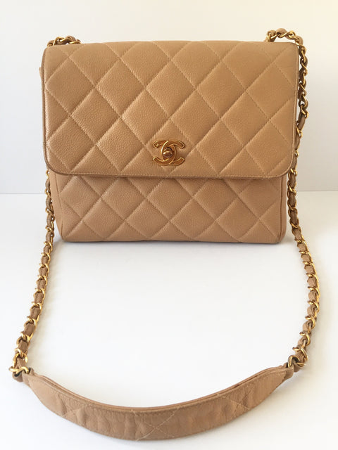 Vintage Chanel Beige Caviar Quilted Leather Single Flap Shoulder Bag