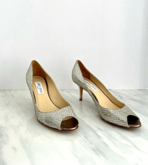 Jimmy Choo Peep Toe Metallic Silver Pump Size 38.5