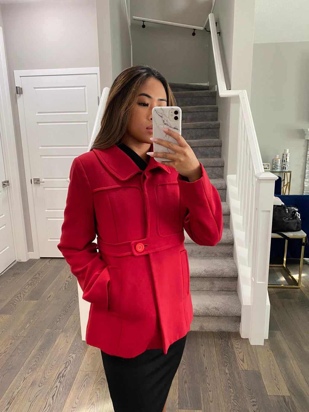 Reiss Red Peacoat Size S