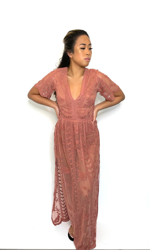 Socialite Pink Taupe Lace Maxi Dress Size S
