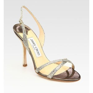 Jimmy Choo Ingrid Silver Glitter Sandals - Joyce's Closet  - 1