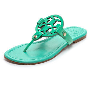 Tory Burch Green Patent Leather Miller Sandals - Joyce's Closet  - 1