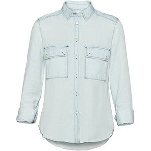 Wilfred Augustina Drapey Light Blue Denim Button Up Shirt - Joyce's Closet  - 1