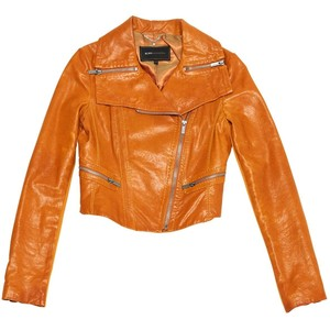 BCBG Max Azria Pumpkin Crop Moto Leather Jacket Size S