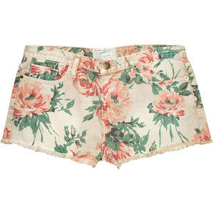 Current & Elliot Boyfriend Floral Denim Shorts - Joyce's Closet  - 1