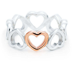 TIFFANY & CO Sterling Silver & 18k Rose Gold Hearts Ring - Joyce's Closet  - 1