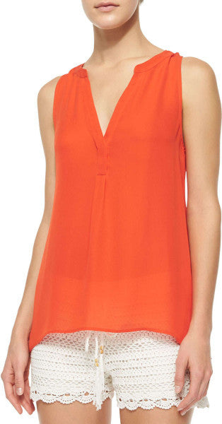 Joie Orange Aruna Sleeveless Silk Blouse - Joyce's Closet  - 1