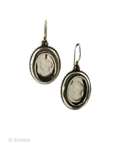 Extasia Black Diamond Intaglio Earrings - Joyce's Closet  - 1