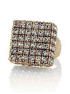 Lia Sophia Square Crystal Embellished Gold Plated Cocktail Ring - Joyce's Closet  - 1