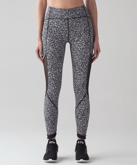 Lululemon Sole Training Daisy Dust Apline Black Print Running Pants Size 6