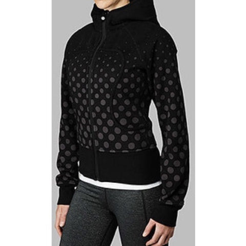 Lululemon Polka Dot Black Scuba Hoodie Sweater Size 8