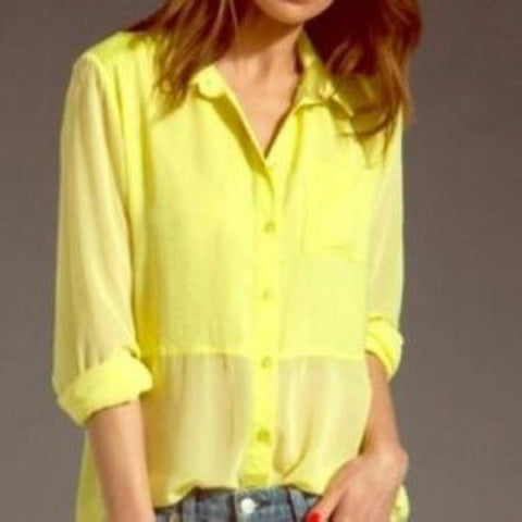 Free People Neon Yellow Long Sleeve Blouse Size M