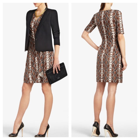 BCBG Max Azria Malena Brown Snake Print Wrap Dress Size S