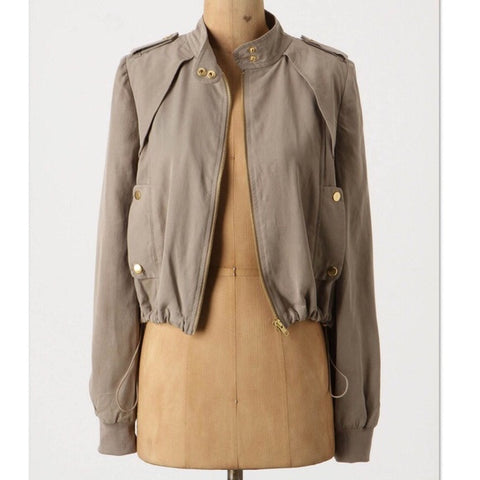 Anthropologie Daughters Of The Liberation Taupe Bomber Jacket Size M
