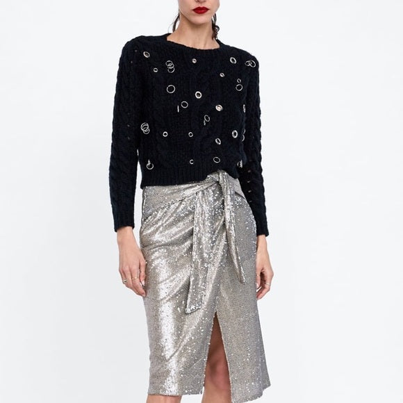 Brand New Zara Silver Sequin Skirt Size S