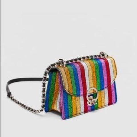 Brand New Zara Metallic Rainbow Cross Body Bag