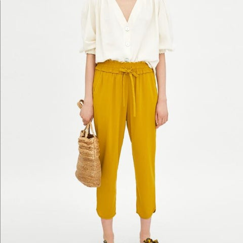 Brand New Zara Mustard Yellow Trouser Size M